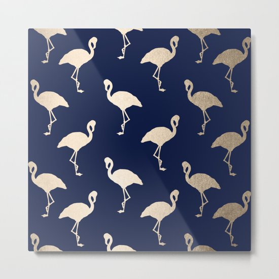 Gold Flamingo Pattern Navy Blue Metal Print