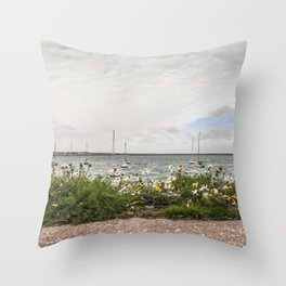 Flowery pier at the docks (Ireland) Throw Pillow