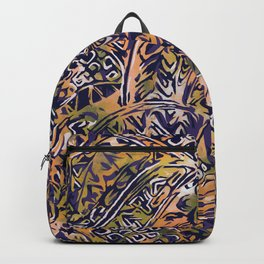 Blue Hawaiian Orange Ancient Pattern Backpack