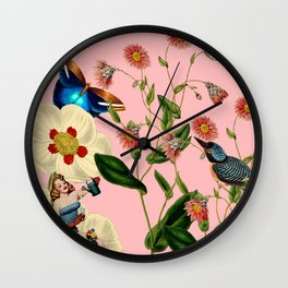Big Flowers dream pink Wall Clock