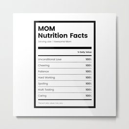 Mom Nutrition Facts Metal Print