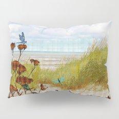 Plaid Beachscape with Dragonflies Pillow Sham