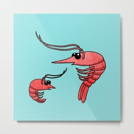 Cute Shrimps Metal Print