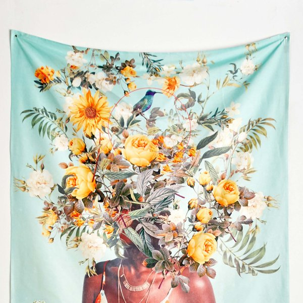 floral tapestry on wall