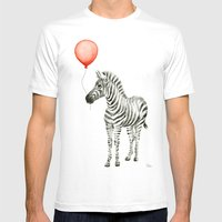 Baby Zebra Whimsical Animal with Red Balloon Nursery Art White Mens Fitted Tee MEDIUM