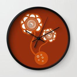 Two Orange Flowers Wall Clock