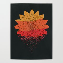 Disintegrating Sunset Flower Poster