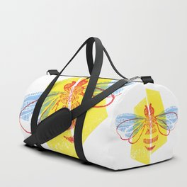 Be Safe - Save Bees linocut Duffle Bag