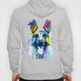 German Shepherd Watercolor, Watercolor Dog print, German Shepherd Print, German Shepherd Art Hoody