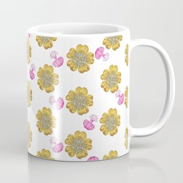 Girly pink perfume bottle faux gold glitter floral Coffee Mug