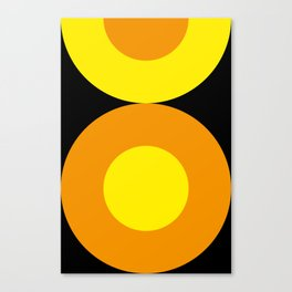 Two suns, one yellow with orange rays,the other orange with yellow rays,both floating in a black sky Canvas Print