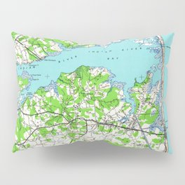 Vintage Rehoboth & Bethany Beach DE Map (1938) Pillow Sham
