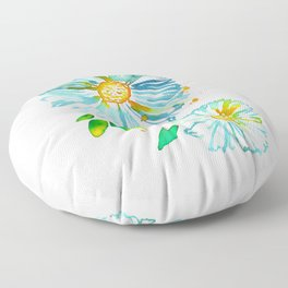 Lakeside Watercolour Blue Daisies Floor Pillow