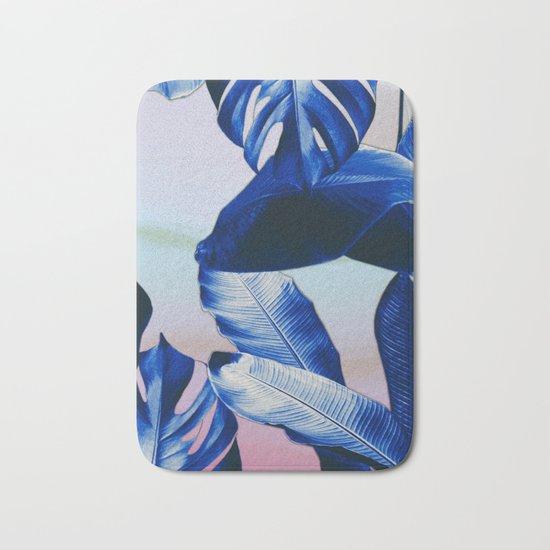 Cobalt blue tropical leaves Bath Mat