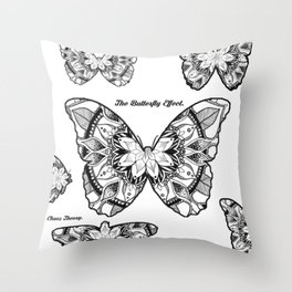 Butterfly Hand Drawn Mandala Throw Pillow