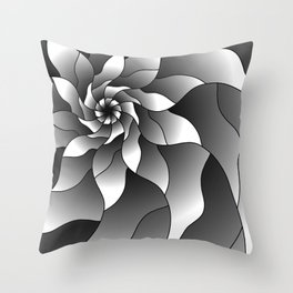 Black and grey pinwheel Throw Pillow