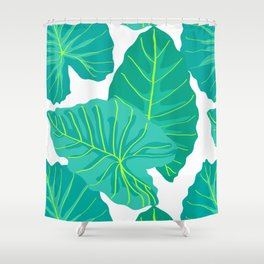 Giant Elephant Ear Leaves in White Shower Curtain