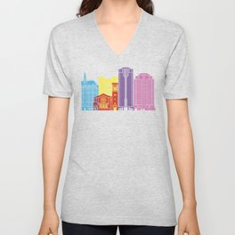 Long Beach V2 skyline pop Unisex V-Neck