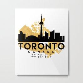 TORONTO CANADA SILHOUETTE SKYLINE MAP ART Metal Print