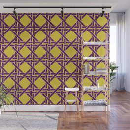 Rectangles pattern design violet - yellow Wall Mural