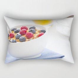 Healthy breakfast with muesli, fresh fruit, orange juice and coffee Rectangular Pillow