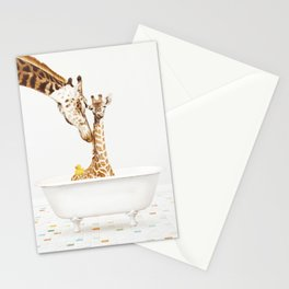 Mother & Baby Giraffe with Rubber Ducky in Vintage Bathtub Stationery Cards