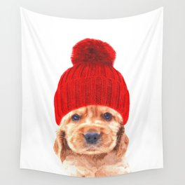 Cocker spaniel puppy with hat Wall Tapestry