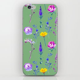 Violet lilac blue modern watercolor floral iPhone Skin