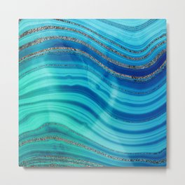 Gold Indigo Blue  Ocean Marble Waves Metal Print