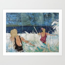 Playing in the surf at Burgh Island by Jackie Wills Art Print