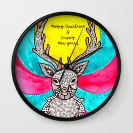 Watercolor Art | Christmas Reindeer Wall Clock