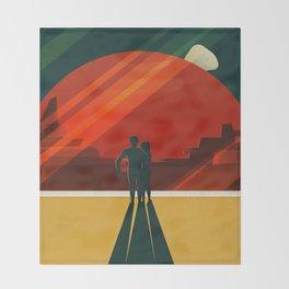THE MOONS OF MARS - Phobos & Deimos | Space | X | Retro | Vintage | Futurism | Sci-Fi | Two Throw Blanket