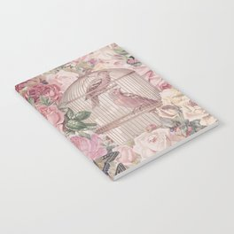 Romantic Flower Pattern And Birdcage Notebook