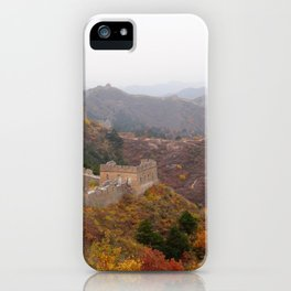Great wall of china with mountains and colorful wild plants arround iPhone Case