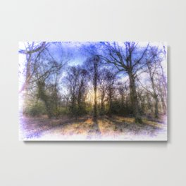 The Early Morning Pastel Forest Art Metal Print