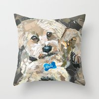 charlie Throw Pillows featuring Charlie by Maritza Hernandez