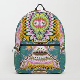 Abstract with tribal floral patterns in blue, green, pink & yellow Backpack