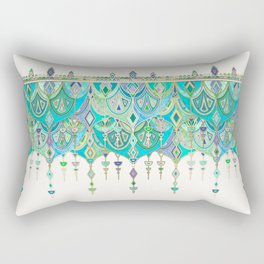 Art Deco Double Drop in Jade and Aquamarine on Cream Rectangular Pillow