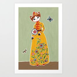 Yellow Dress Cat Art Print