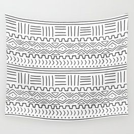 Mud Cloth on White Wall Tapestry