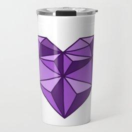 Geometric Diamond Heart - Amethyst Travel Mug