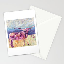 Longhorn in Pink Stationery Cards