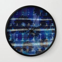Vintage Indigo and Flowers Wall Clock