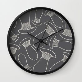 king oyster mushrooms Wall Clock