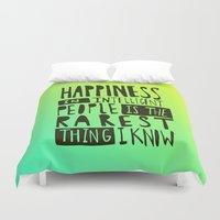 hemingway Duvet Covers featuring Hemingway: Happiness by Leah Flores