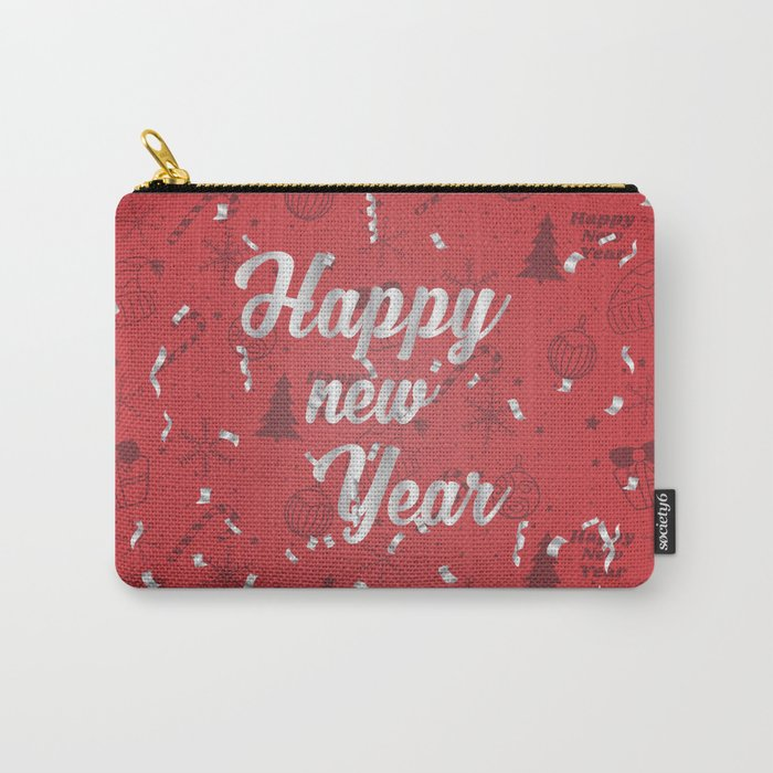 Happy holiday, Christmas sign with snow flake and christmas decoration on the red background Carry-All Pouch