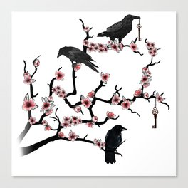 Ravens on cherry tree Canvas Print