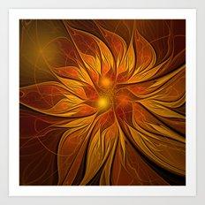 Fractal Flower - Red Art Print