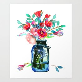 Red Peonies in Mason Jar Art Print