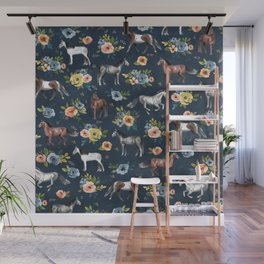 Wild Horses, Horse and Floral Print, Navy Blue, Watercolor Painting, Illustrated Horses, Flowers,  Wall Mural